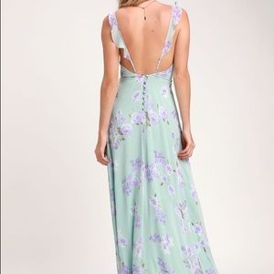Sage Green Lulus Maxi Long Floral Dress Backless
